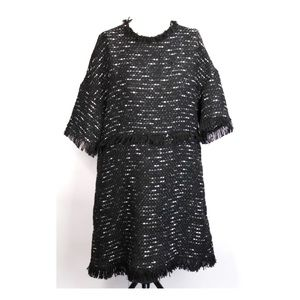 Zara Woman Black White Tweed Sheath Career Dress